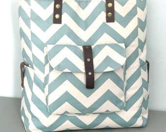 The Everyday Tote - Chevron Blue - Ready to Ship