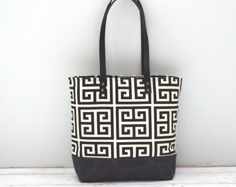 Tote Bag - Onyx Print and Waxed Canvas - Medium Tote - READY TO SHIP