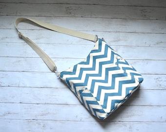 Large Compass Bag - Chevron Zigzag Crossbody Canvas Bag  in Denim Blue - READY TO SHIP