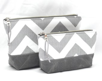 Stand up Zippered Pouches - Gray Chevron and Waxed Canvas - READY TO SHIP