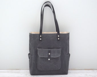 The Everyday Tote - Slate Gray Waxed Canvas - READY TO SHIP
