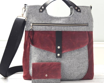 Tasche Yve - Crossbody Bag - Tote - Essex Linen and Burgundy Waxed Canvas + bonus wallet - READY TO SHIP