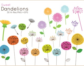 BUY 2 GET 1 FREE Sweet Dandelion clip art for personal and commercial use - vector dandelion clipart - flower clipart - flower clip art