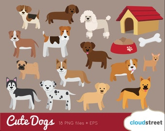 BUY 2 GET 1 FREE Dogs Clip Art / Dog Clipart / Puppy clipart vector illustration / retriever dachshund bulldog pug poodle commercial use ok