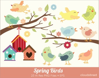 BUY 2 GET 1 FREE Spring Birds Clipart for personal and commercial use ( Cute birds clip art ) - spring bird vector graphics