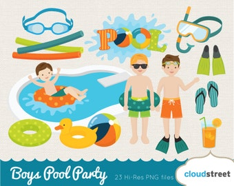 BUY 2 GET 1 FREE boys pool party clipart / pool party clip art / vector swimming clipart / summer clipart / pool clipart commercial use ok