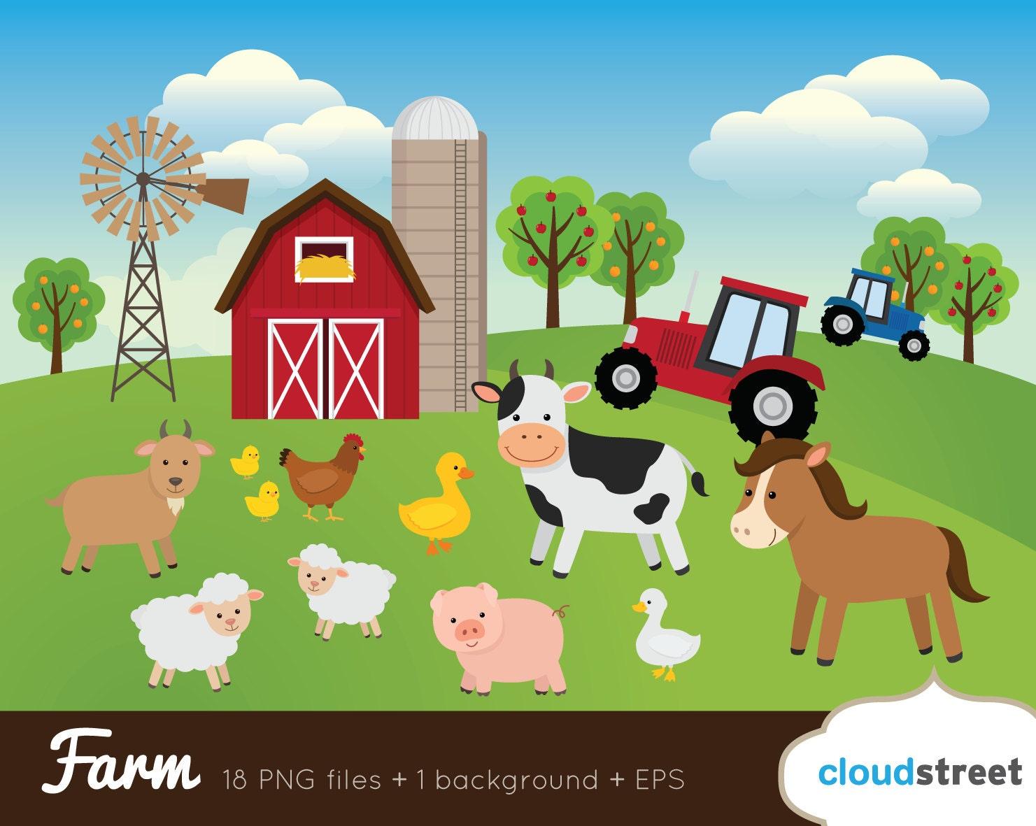 buy 2 get 1 free farm clipart farm animal clipart barnyard rh etsystudio com farm clipart silhouette farm clipart free download