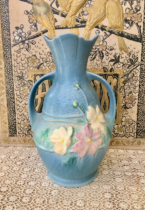 Beautiful Vintage Roseville Pottery Vase In Cosmos Etsy