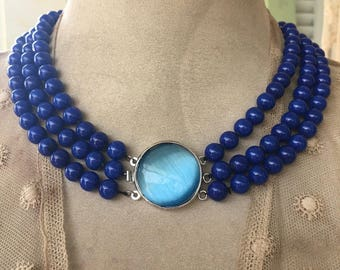 Pretty 3 Strand Necklace  of Lapis Beads with Sky Blue Clasp