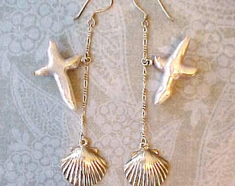 Unusual and Beautiful Dangling Earrings with Silver Shells and Mother-of-Pearl Dangles