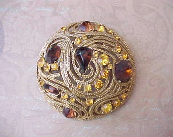 Big and Beautiful Vintage 1950's Rhinestone Brooch in Topaz Colors