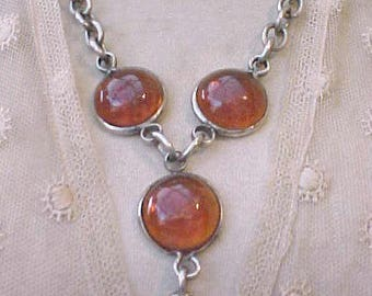 Feeling Groovy Gothic Look 1960's Necklace with Amber Glass Cabochons