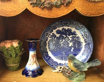 Handsome and Very Old English Blue Willow Stoneware Plate