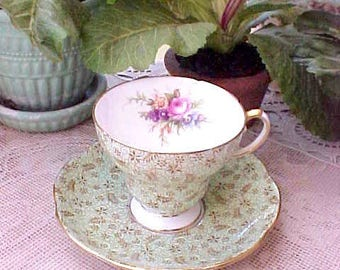 Beautiful Foley English Bone China Teacup and Saucer in Minty Sea Green