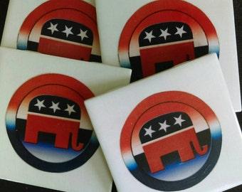 Republican Logo Set of Drink Coasters Great Gift Idea!