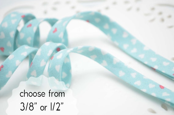 """Handmade 1//2/"""" Double Fold Bias Tape *Teal,with White Polka Dots*"""