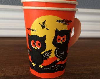 Halloween Vintage Paper Party Cups Owls Bats