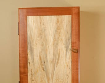 Wall Mounted Jewelry Cabinet Made of Sapele and Spalted Maple