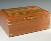Handcrafted Jewelry Box of Mahogany and Zebrawood