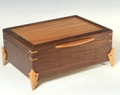 Handcrafted Jewelry Box with Legs and Covered Tray