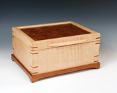 Tiger Maple Jewelry Box with Pommel Sapele Veneered Lid