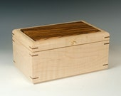 Medium Jewelry Box made of Tiger Maple and Zebrawood