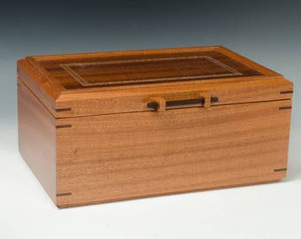 Handcrafted Jewelry Box made of Ribbon Sapele
