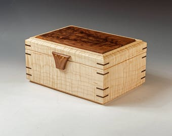 Custom Jewelry Box made of Tiger Maple with Walnut Burl lid