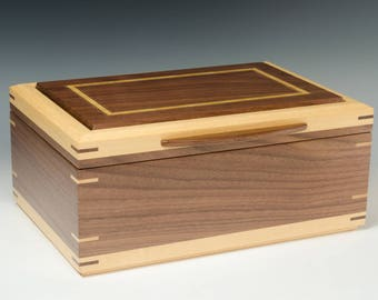 Handcrafted Jewelry Box of Walnut with Satinwood Accents