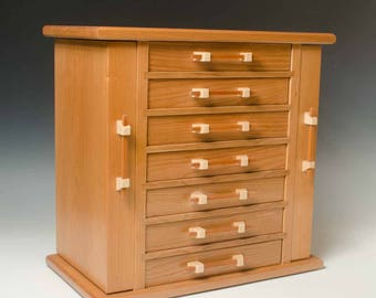 Cherry Dresser Top Jewelry Cabinet with Necklace Wings