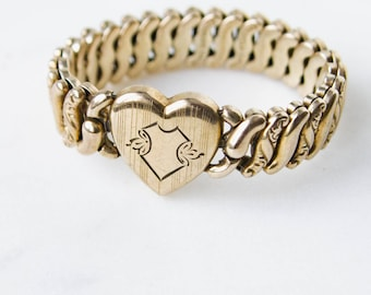 Vintage Expansion Bracelet | WWII Sweetheart Jewelry 10K gold fill sterling silver | heart pendent charm 40s WW2 Era | AMERICAN QUEEN