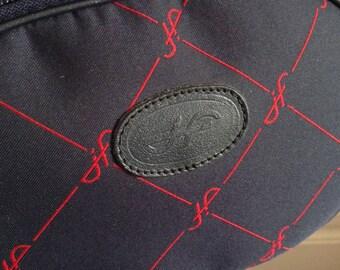 Vintage Jacques fath Couture navy bag monogram