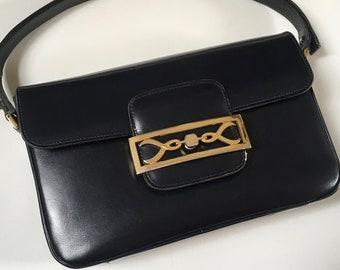 e6c25a26e77a Vintage bag navy gold clasp 70s 80s Céline style bag