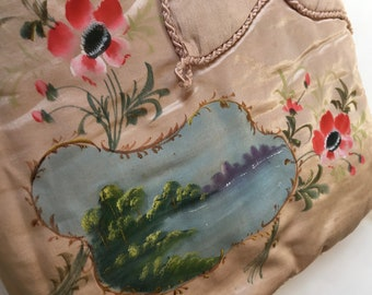Antique French Flower  Embroidery Lingerie bag boudoir 1910 Silk
