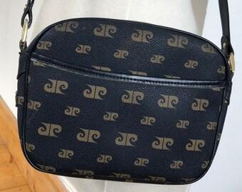 60c4bc4abde9 Vintage Pierre Cardin Couture navy bag monogram crossbody bag Habana  Collection 70s