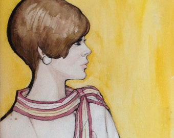 Vintage original fashion illustration 60s girl brown hair girl portrait