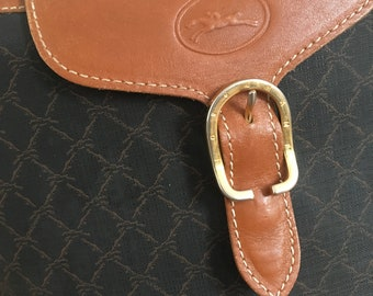 Vintage Longchamp bag leather black brown satchel 2286b2518e