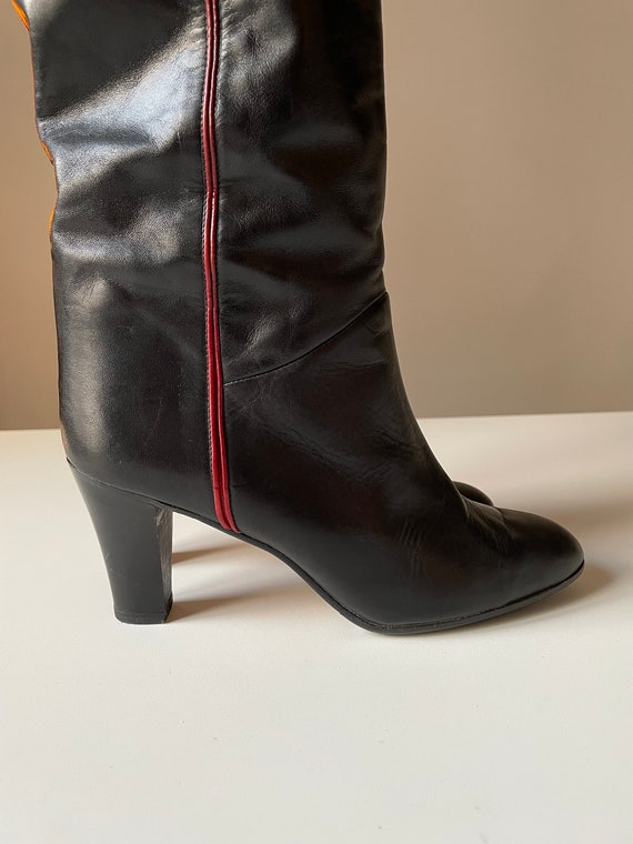 Vintage Black and red Italian Riding Boots Sirena