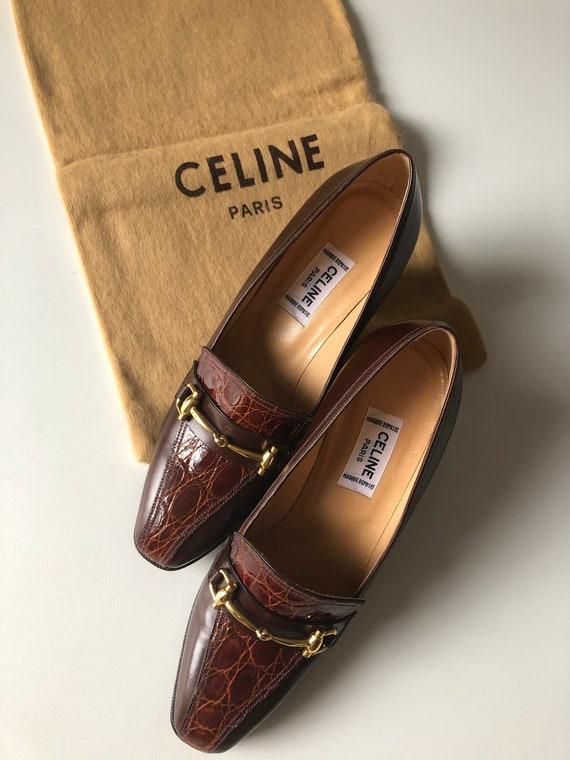 Celine Heels croco Oxford brown 70's shoes NOS siz