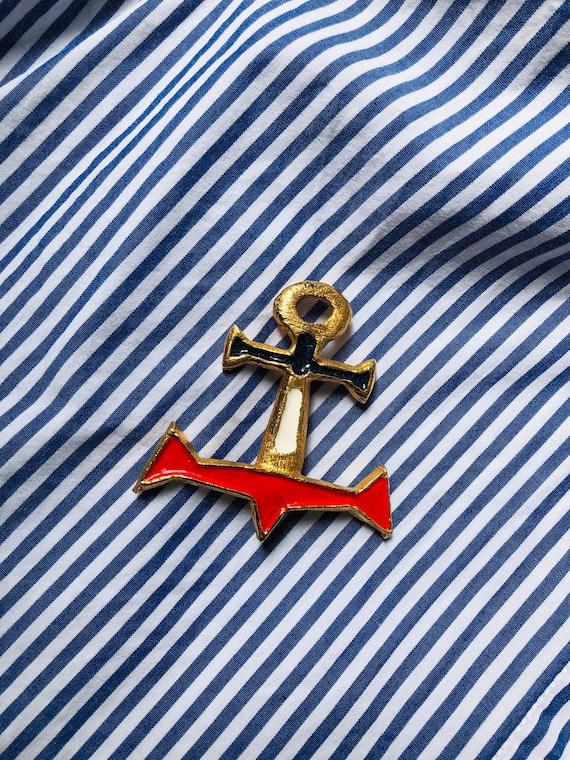 Vintage 60S Brooch Anchor sailor Nautical - image 1
