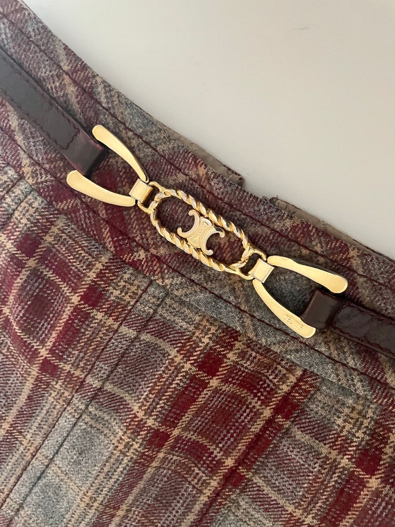 Celine vintage skirt burgundy tartan gold buckle 7