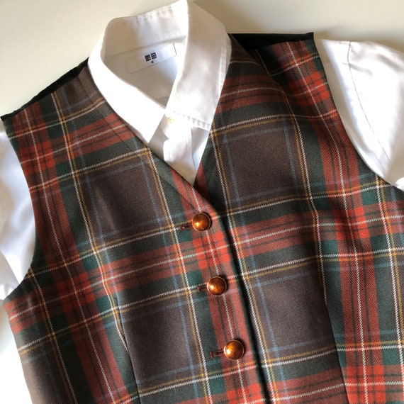 Yves Saint Laurent wool tartan jacket Small