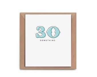 "Greeting Card ""30something"" - Birthday typography simplistic white green number modern anniversary thirties thirty"