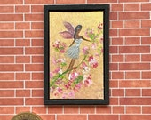 Miniature  Art, blossom fairy Miniature Painting Original Miniature Dolls House or Collectible Picture