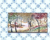 Fall landscape Panoramic Miniature Dollhouse Painting Art