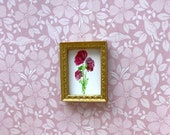 Dolls house roses 1:24 Miniature Original Painting