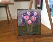 Modern Miniature Peony and purple flowers Vase Painting 1 12th Scale Original Dolls House Picture