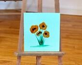 Miniature Painting | Poppy flower  | Dollhouse Miniature | original Contemporary Art | Dolls House Painting