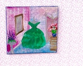 Miniature  Dolls House Painting dressing room Original Miniature Art