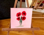 Miniature Painting | Red Poppy flower  | Dollhouse Miniature | original Contemporary Art | Dolls House Painting